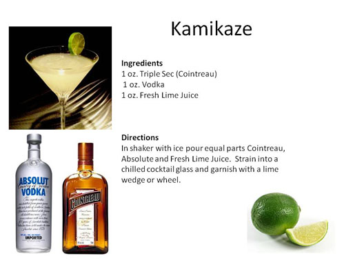 Drinks popular in the 80s midnight mixologist for Cocktail kamikaze
